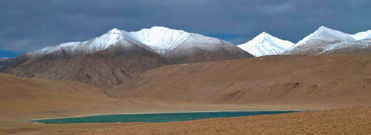 Ladakh lake snow mountain